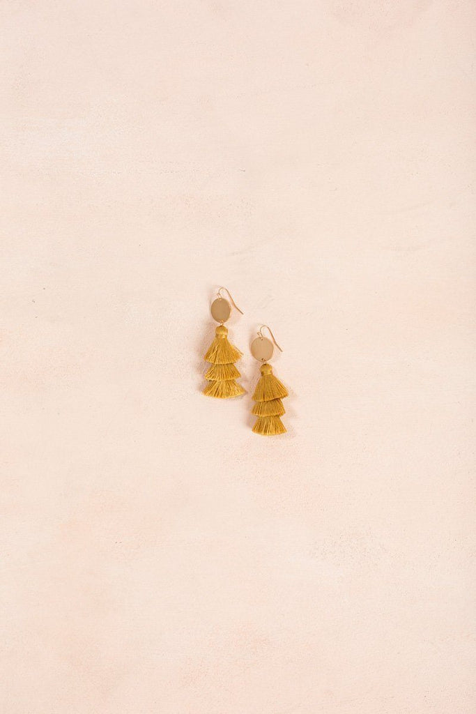 Carly Fringe Tassel Earrings Earrings Joia Mustard