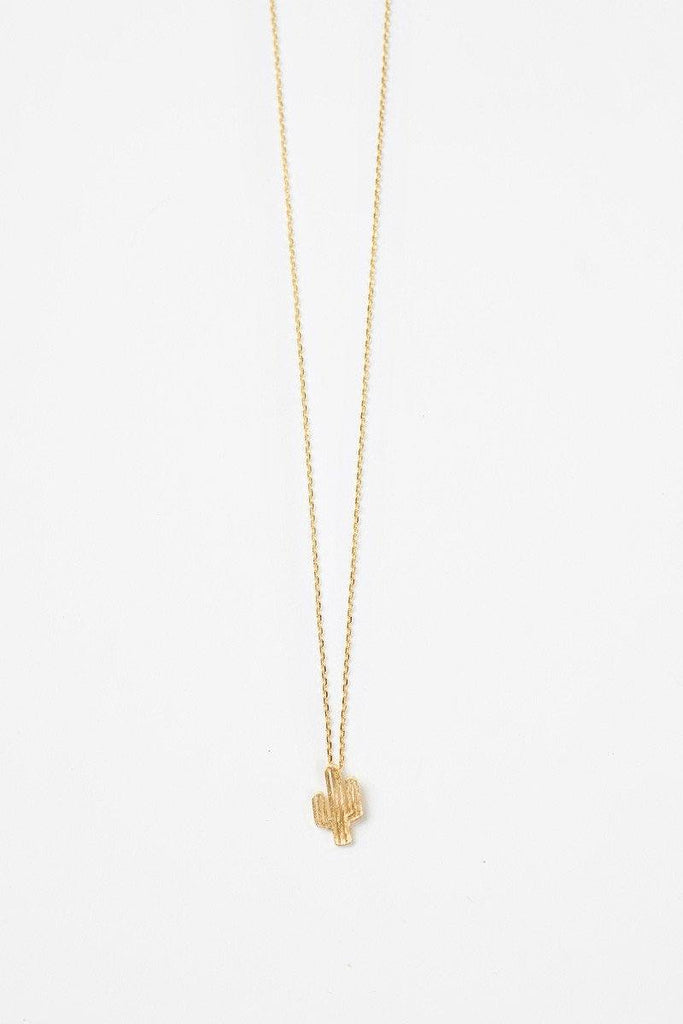 Carissa Cactus Dainty Gold Necklace