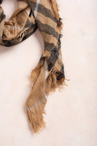 Janet Camel/Black Plaid Scarf
