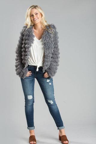 Elle Grey Faux Fur Jacket