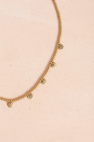 Quinn Gold Beaded Coin Necklace Necklaces Joia Gold