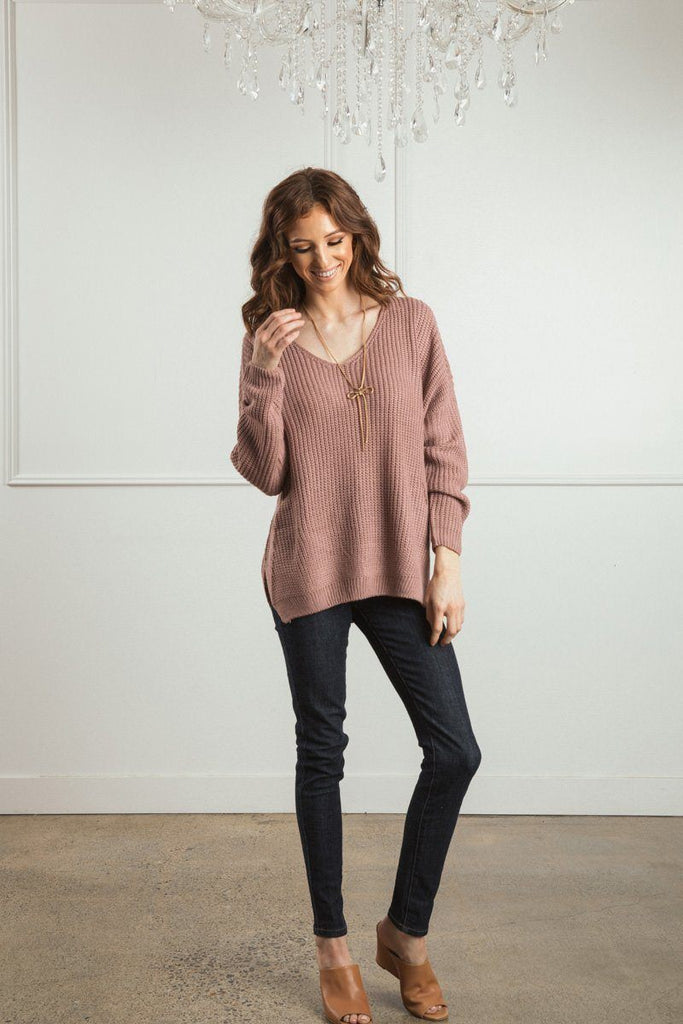 Terri Knit V-Neck Pullover Sweater Sweaters Dreamers Mauve S/M