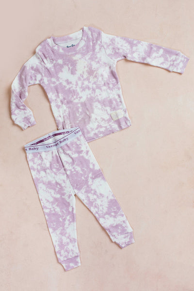 Kids Long Sleeve Tie Dye Pajama Set Kids Salon De Bebe Purple XS (12-24M)