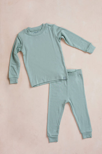 Kids Mint Solid Knit Pajama Set Kids Salon De Bebe XS (18-24M) Mint