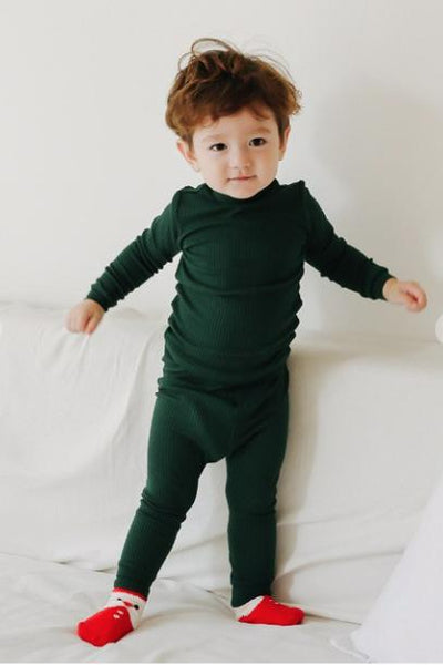 Kids Ribbed Knit Pajama Set Kids Salon De Bebe XS (18-24M) Green