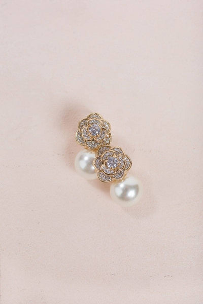 Genesis Pearl Rose Earrings Earrings Joia Gold
