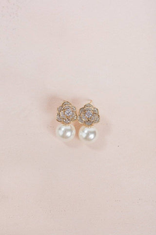 Genesis Pearl Rose Earrings Earrings Joia