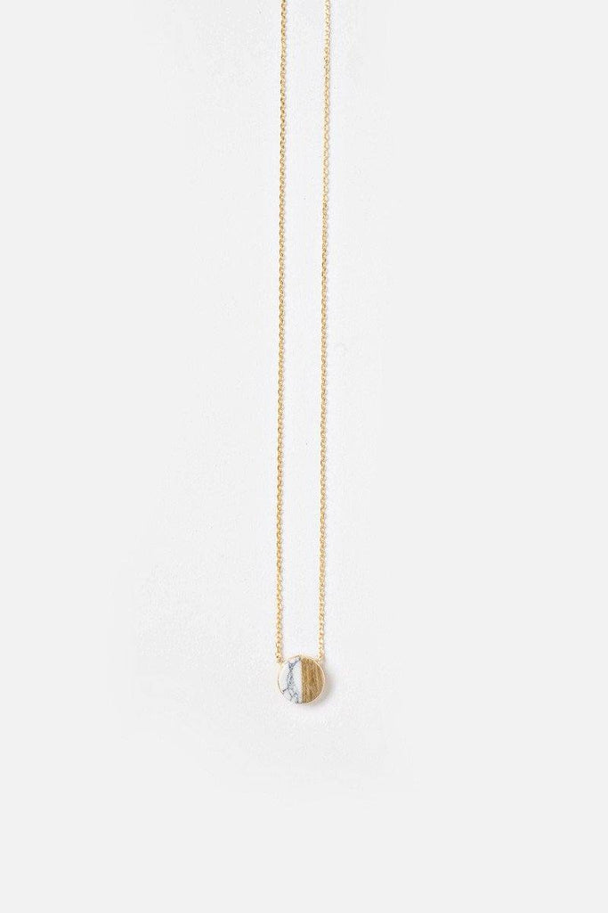 Alyssa Marble Circle Dainty Gold Necklace Necklaces Morning Lavender