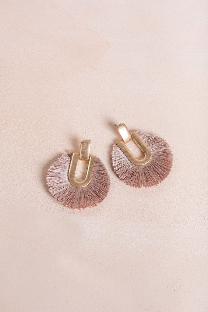 Cathy Mauve Tassel Fringe Earrings Earrings Fame Mauve