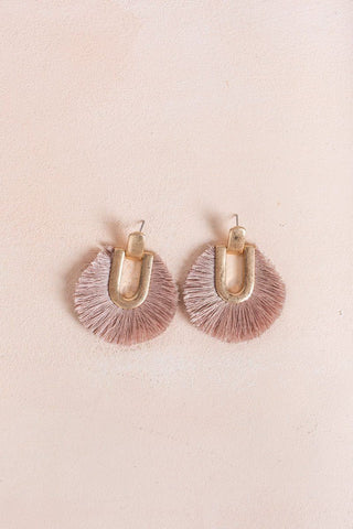 Cathy Mauve Tassel Fringe Earrings Earrings Fame