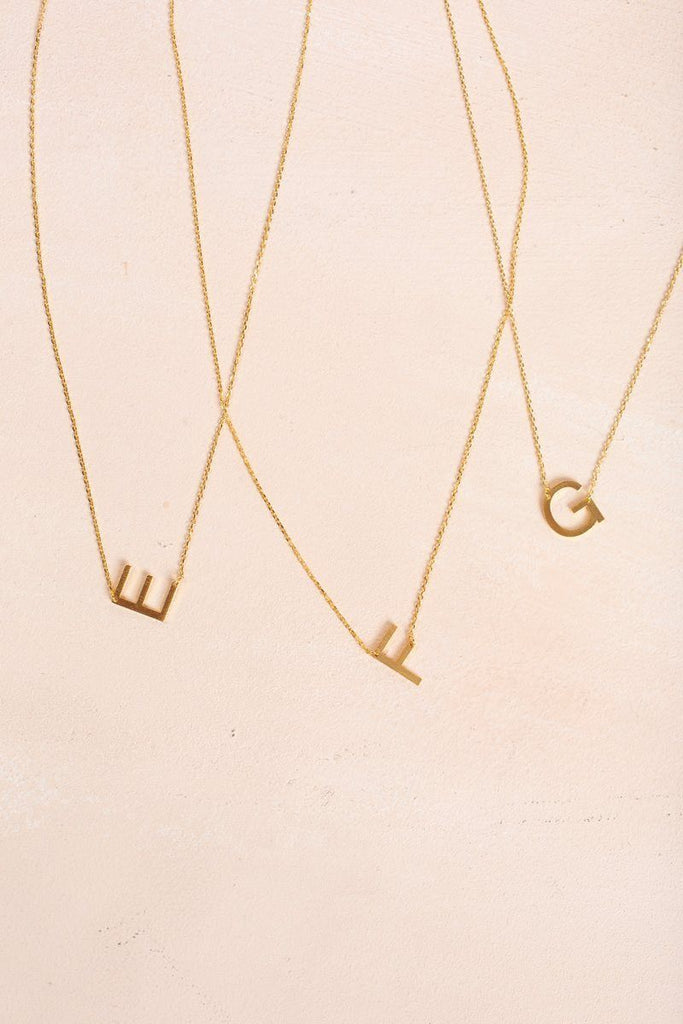 Kaye Gold Initial Necklace Necklaces FAME E