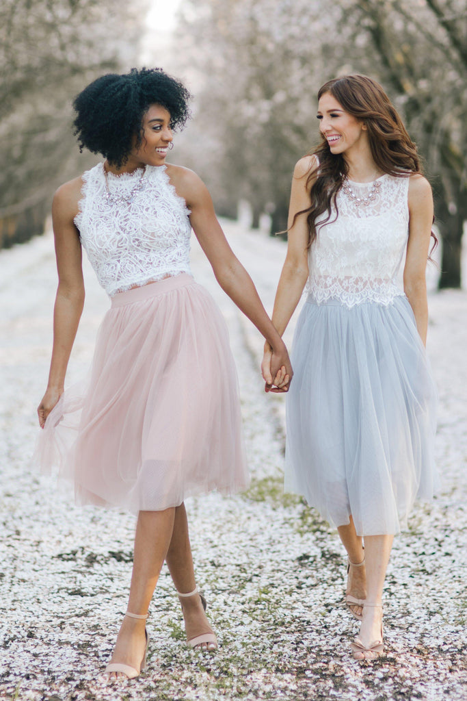 Eloise Grey Tulle Midi Skirt Skirts Esley