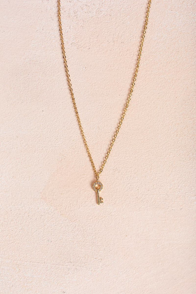 Elena Gold Key Necklace Necklaces Joia Gold