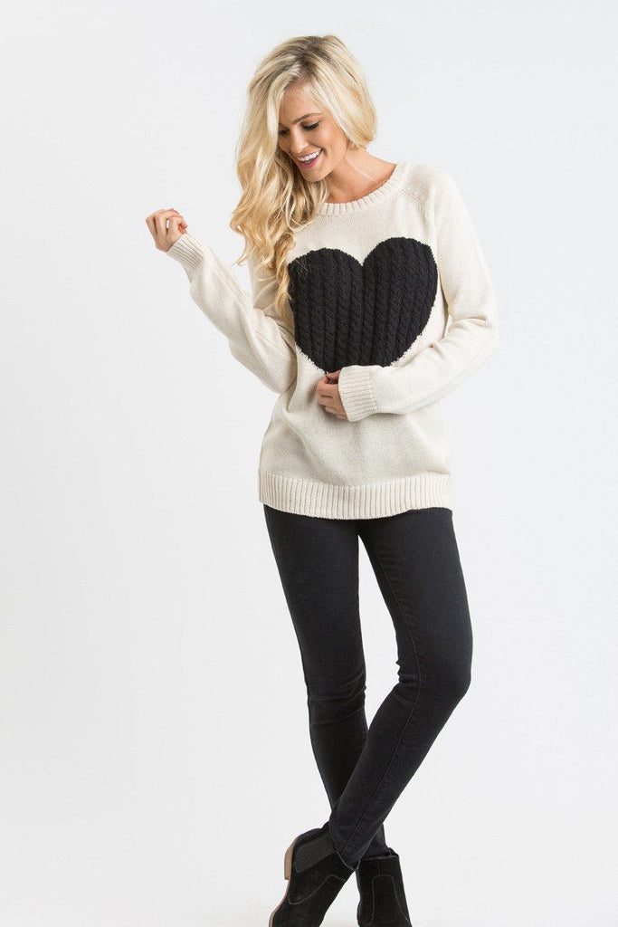 Tiffie Cream Heart Sweater Sweaters MAK