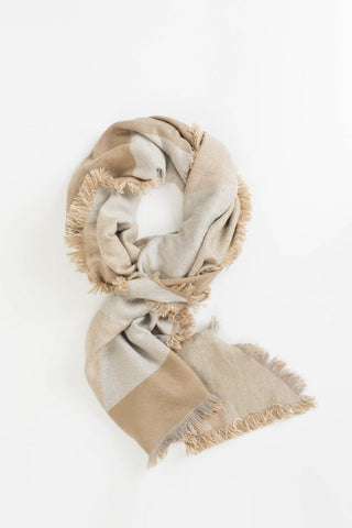 Ellen Beige Oversized Plaid Blanket Scarf