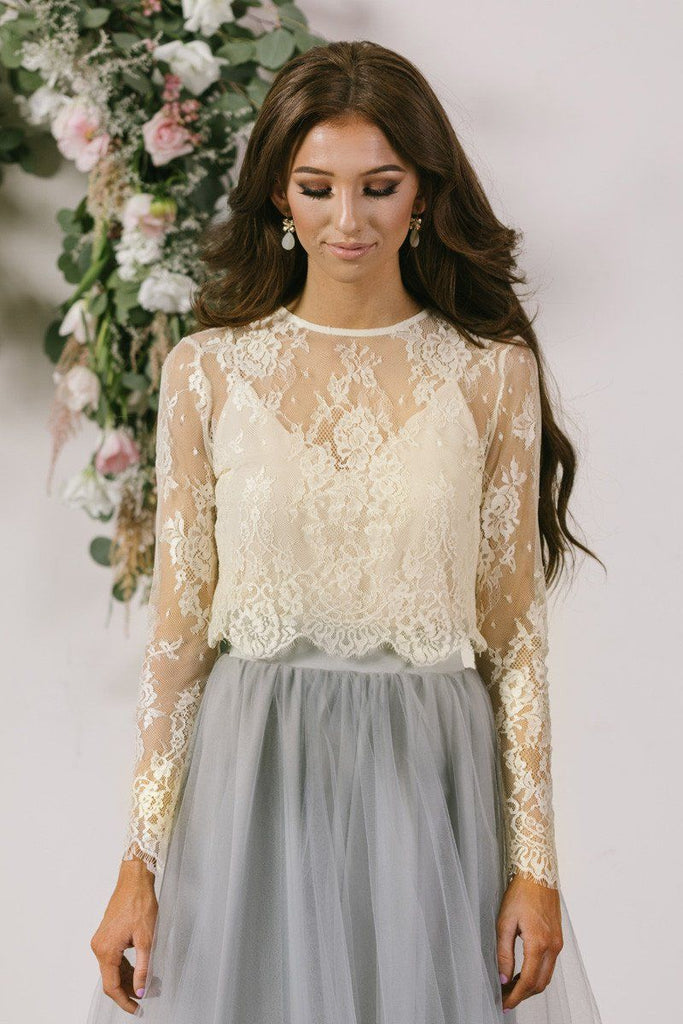 Amelie Longsleeve Ivory Lace Crop Top Morning Lavender