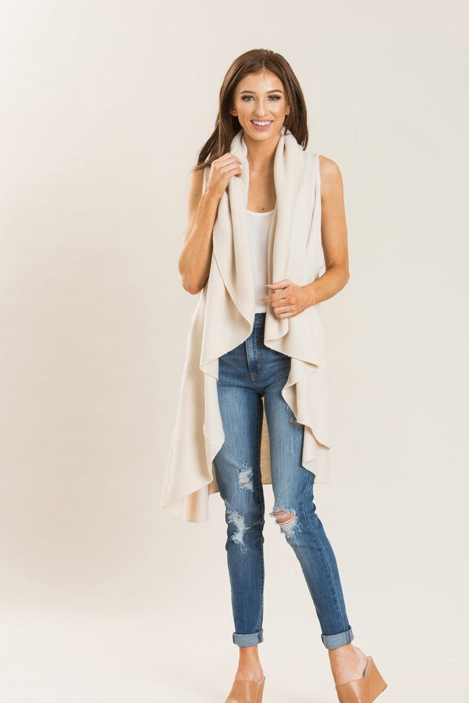 Priscilla Cream Sleeveless Shawl Sweaters Look by M