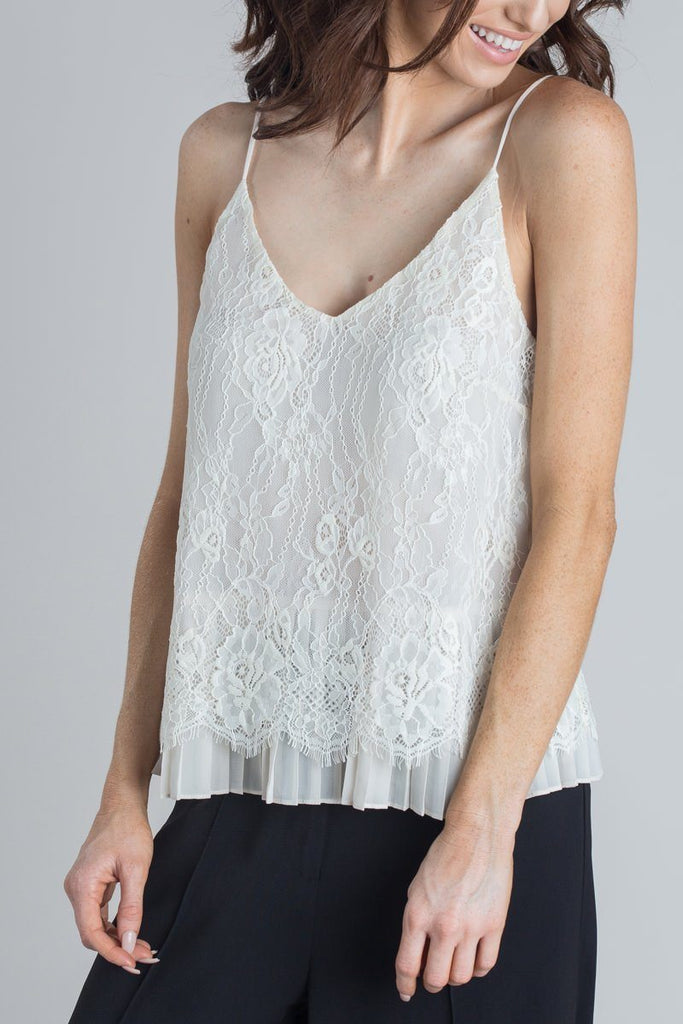 Eliza Cream Lace Pleated Cami Tops STORIA