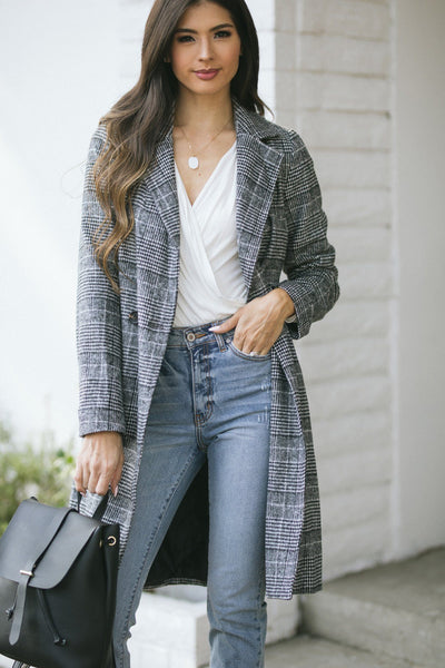 Brittany Plaid Long Coat Outerwear HYFVE Grey Small