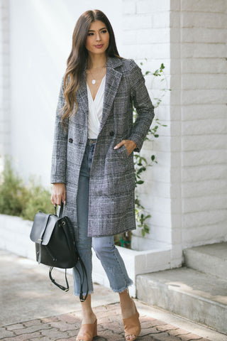 Brittany Plaid Long Coat-Morning Lavender