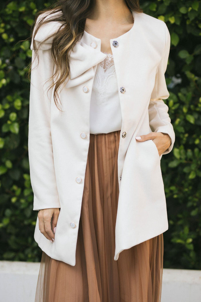 Ella Bow Coat Outerwear Moon Collection