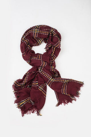 Becca Burgundy Plaid Scarf