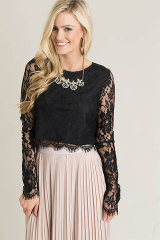 Ashlyn Black Longsleeve Lace Top