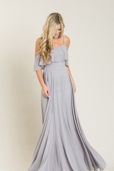 Petite Adele Grey Ruffle Maxi Dress Dresses INA Grey XSP