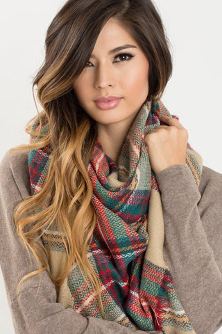 Holly Beige Plaid Knitted Scarf Scarves Other