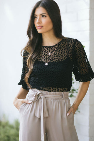 Lilian Polka Dot Puff Sleeve Blouse Tops Saints & Hearts