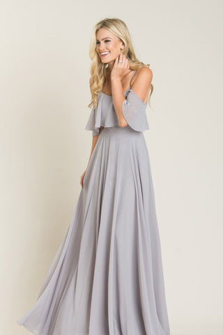 Petite Adele Grey Ruffle Maxi Dress Dresses INA