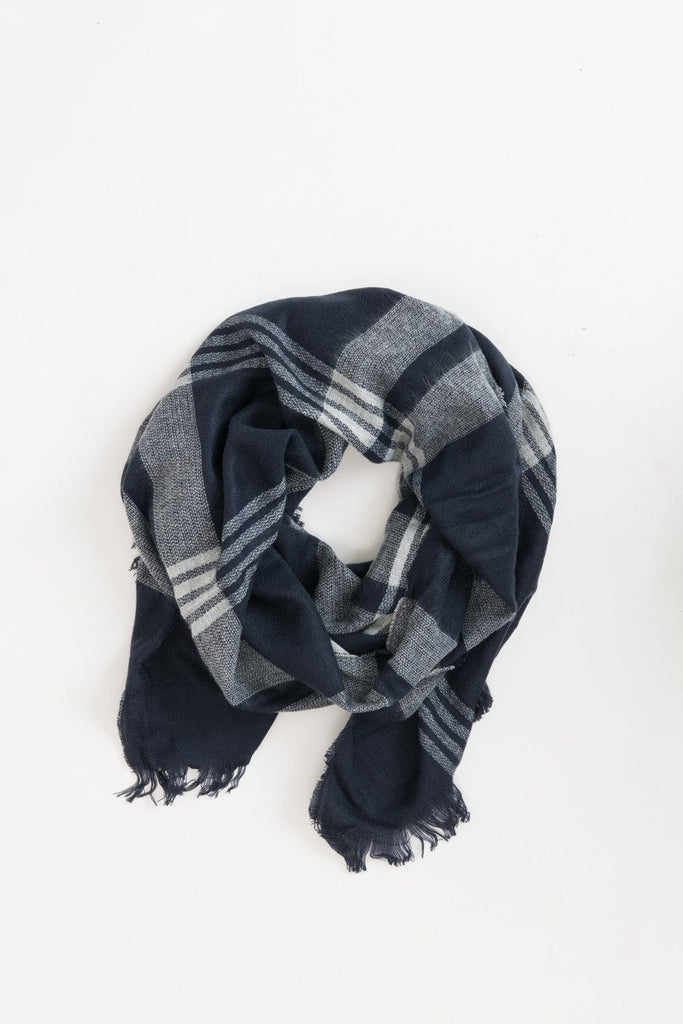 Whitney Navy Plaid Scarf Scarves Morning Lavender