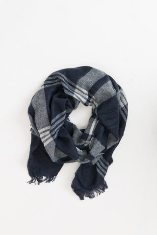Whitney Navy Plaid Scarf
