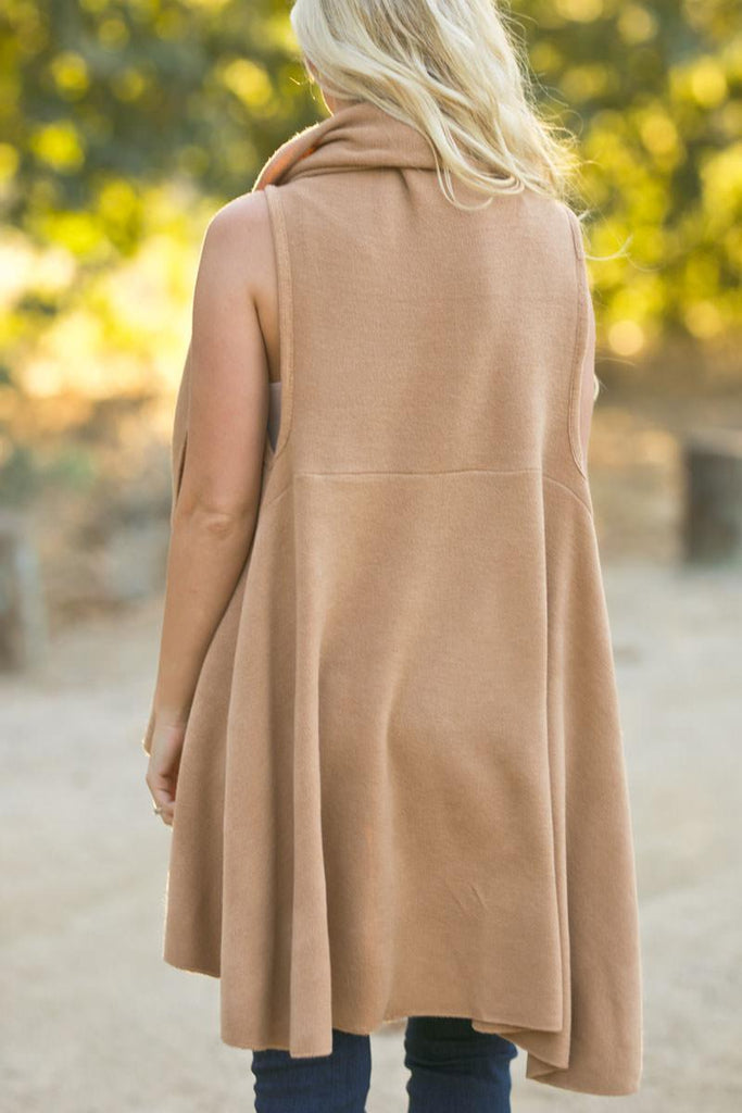 Priscilla Camel Sleeveless Shawl Outerwear Look by M