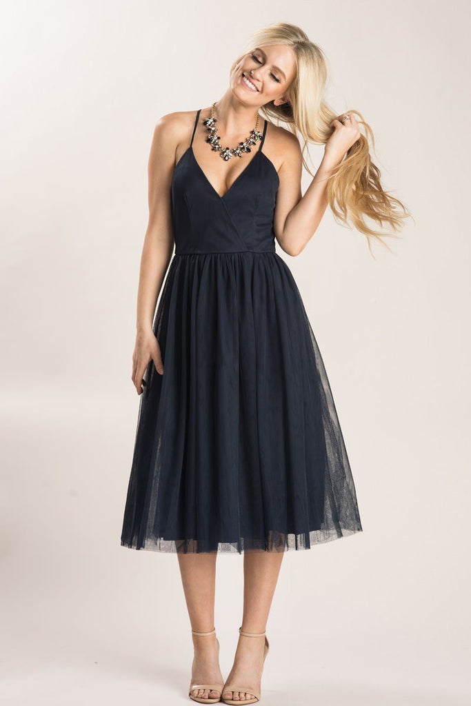 Julianna Navy Tulle Midi Dress Dresses Maniju