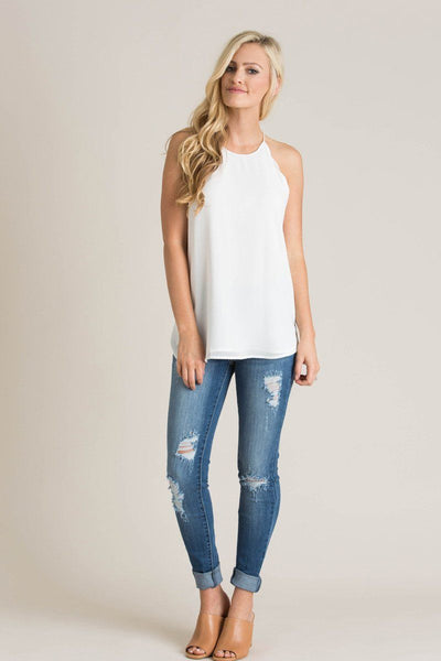 Yvonne Off White Scallop Halter Cami Tops Naked Zebra
