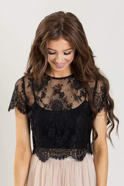 super popular hoard as a rare commodity value for money Jolee Black Short Sleeve Lace Top