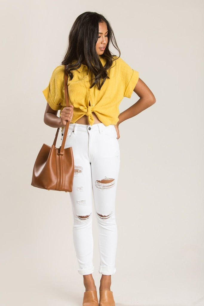 Anna Button Up Top Tops Le Lis Mustard Small