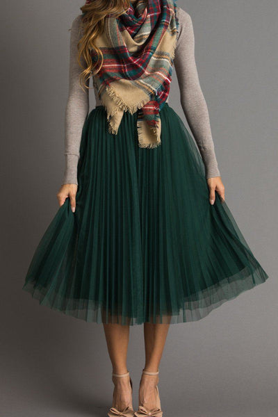 Vienna Green Pleated Tulle Midi Skirt Skirts Lucy Paris