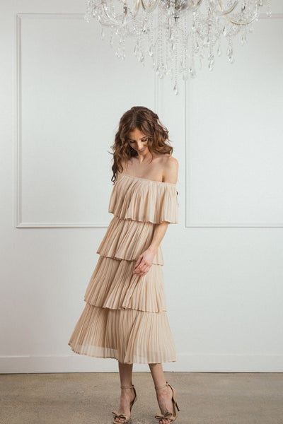 Vera Pleated Ruffle Dress Dresses JUST ME Taupe X-Small