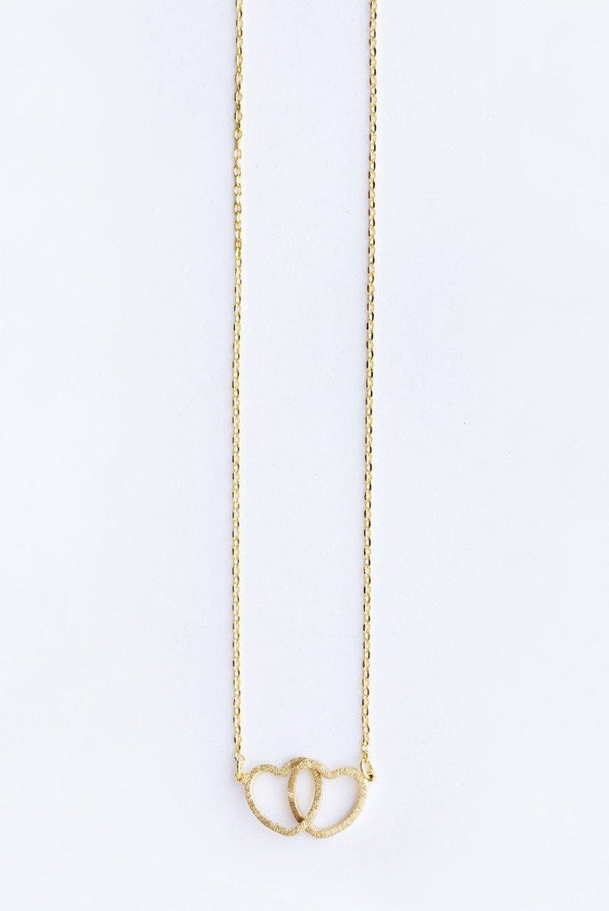 Vanessa Double Heart Dainty Gold Necklace Necklaces Morning Lavender