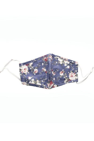 Cotton Floral Non-Medical Grade Mask Accessories icco Blue