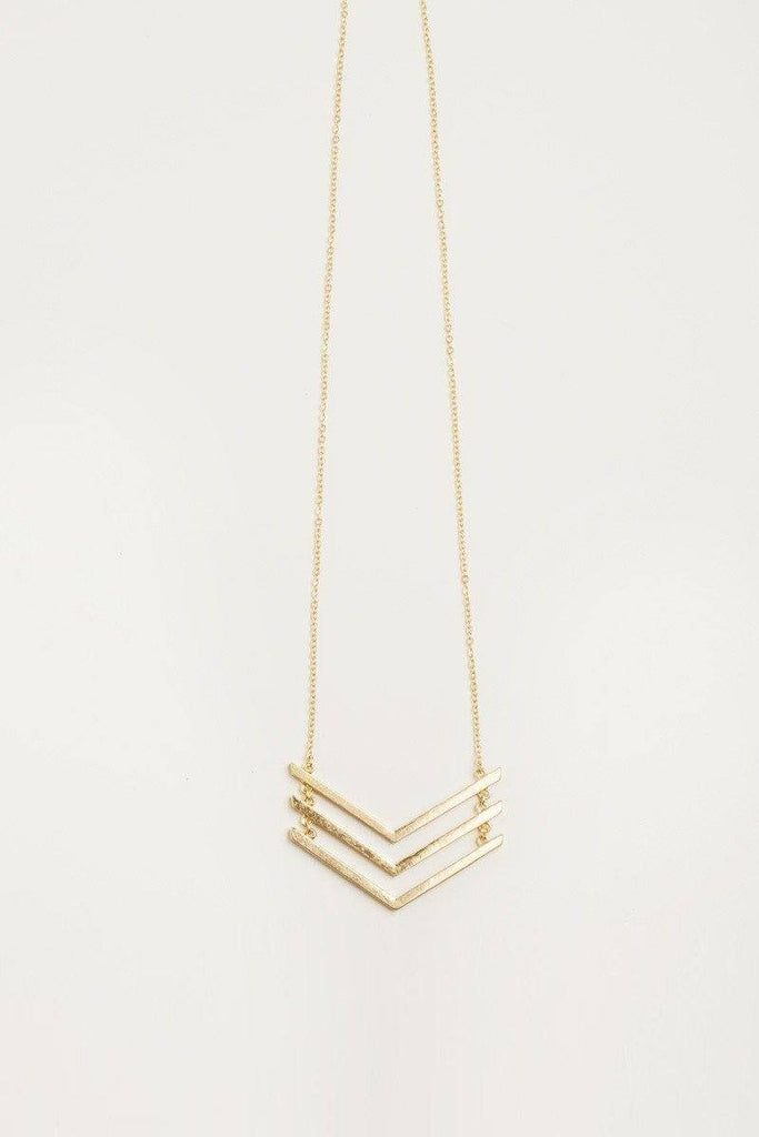 Jules Chevron Gold Necklace Necklaces Morning Lavender