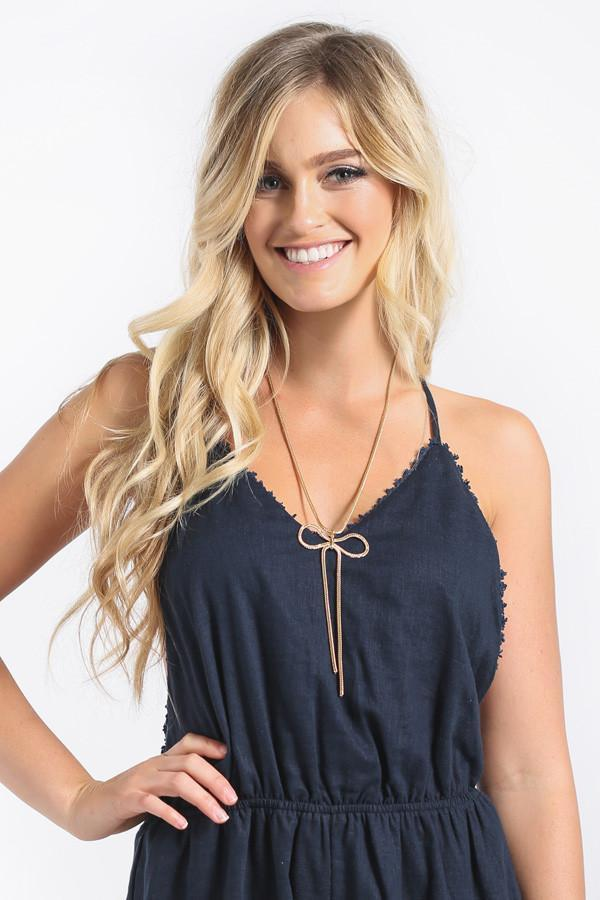 Betty Bow Long Gold Necklace Necklaces Other