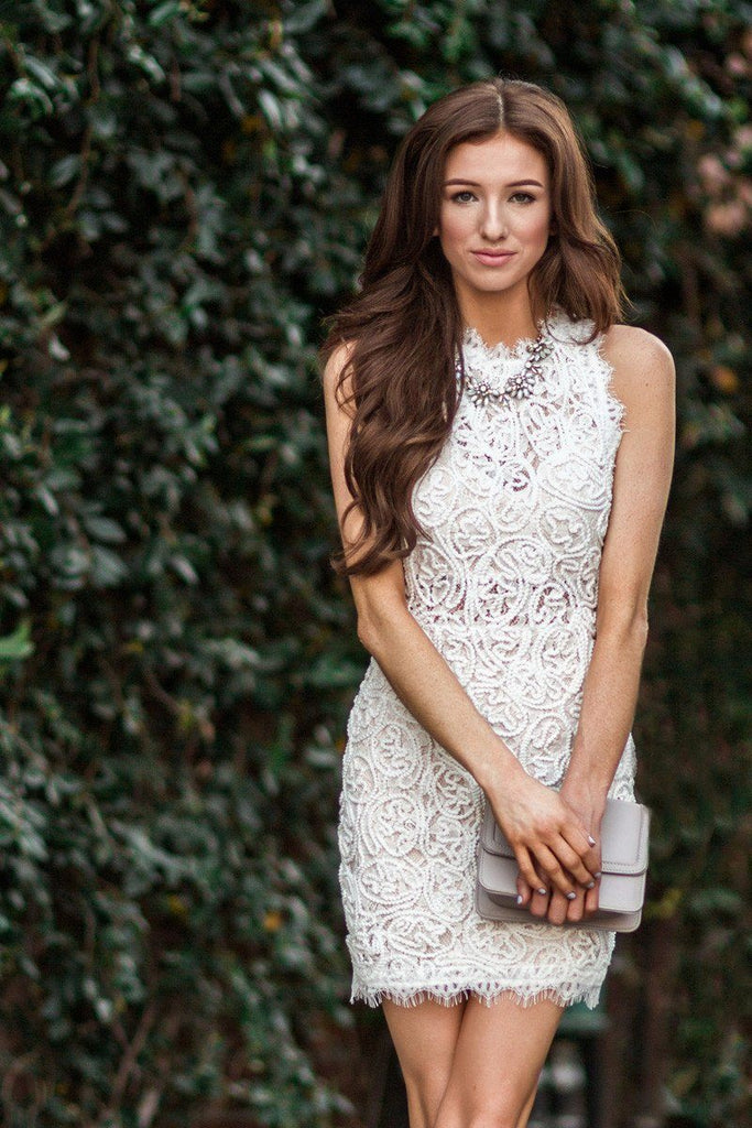 Anne White Lace Sleeveless Bodycon Dress