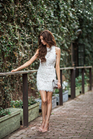 Anne White Lace Sleeveless Bodycon Dress Dresses A Peach