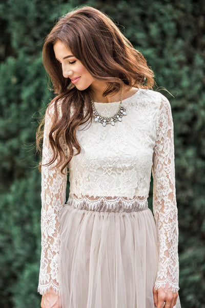 Ashlyn Longsleeve Lace Top Tops Maniju Cream X-Small