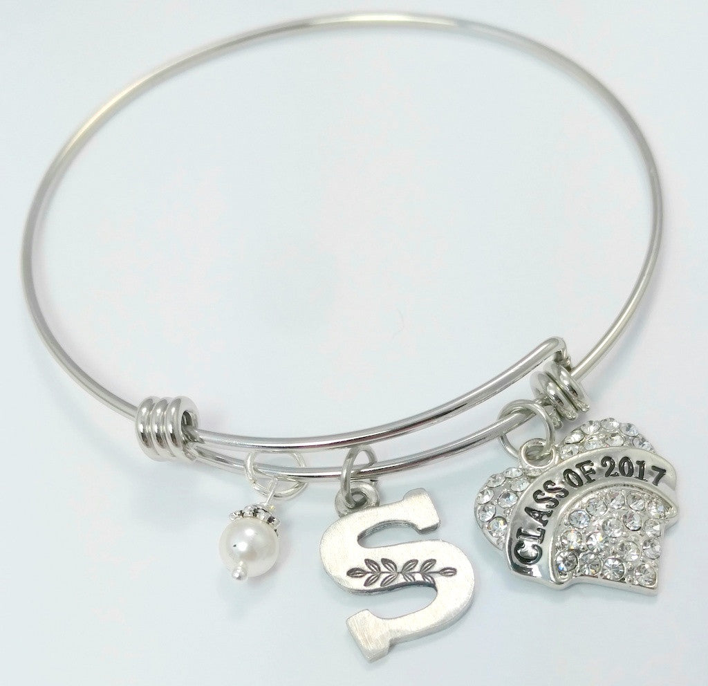 Class of 2018 Expandable Initial Charm Bracelet - Bling Chicks Jewelry Accessories Gifts