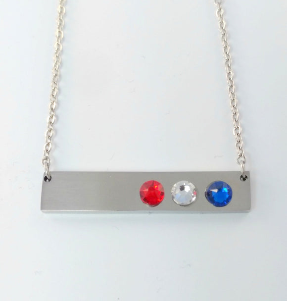 Red White & Blue Patriotic Bar Necklace by Bling Chicks