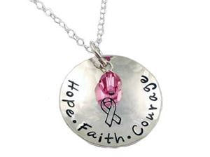 Hope Faith Courage Bling Chicks Cancer Awareness Ribbon Necklace - Bling Chicks Jewelry Accessories Gifts